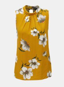 Horčicový kvetovaný top bez rukávov Dorothy Perkins