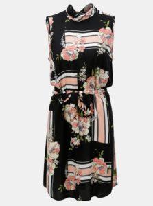 Ružovo-čierne kvetované šaty bez rukávov Dorothy Perkins