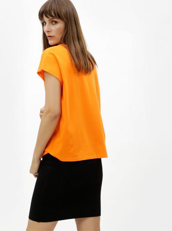 Oranžové dámske voľné tričko Calvin Klein Jeans