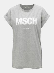 28af8f08444a Sivé voľné melírované tričko s potlačou Moss Copenhagen Alva