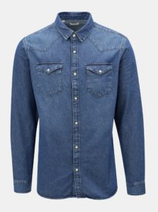 Modrá rifľová slim fit košeľa Selected Homme