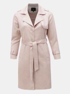 Svetloružový tenký kabát v semišovej úprave Zizzi