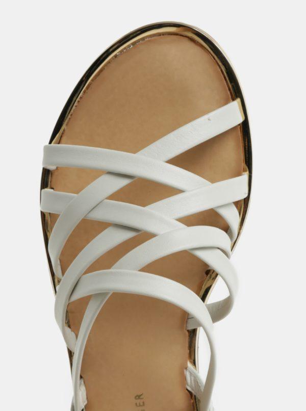 Biele dámske kožené sandále Tommy Hilfiger