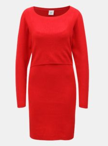 Červené puzdrové tehotenské/na kojenie šaty Mama.licious