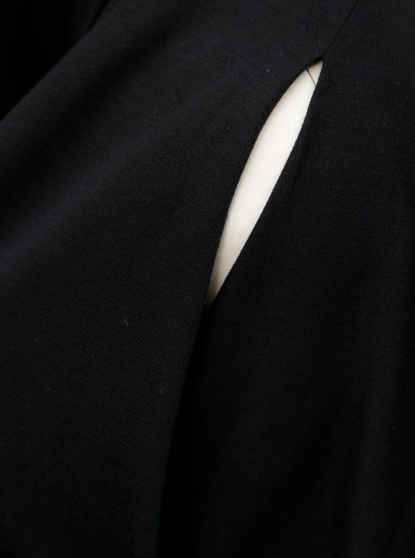 Čierna tehotenská blúzka (na kojenie) s prekladanou prednou čaťou Mama.licious