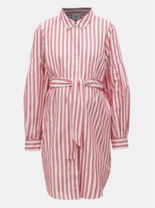 Bielo-červené tehotenské/na kojenie košeľové pruhované šaty Mama.licious