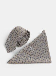 Béžová vzorovaná slim kravata s vreckovkou do klopy saka  Burton Menswear London
