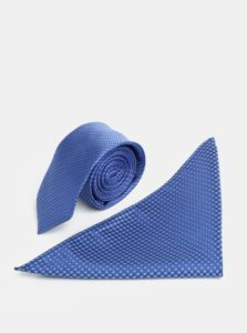 Modrá vzorovaná slim kravata s vreckovkou do klopy saka Burton Menswear London