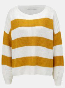 Horčicovo-biely pruhovaný sveter ONLY Campos