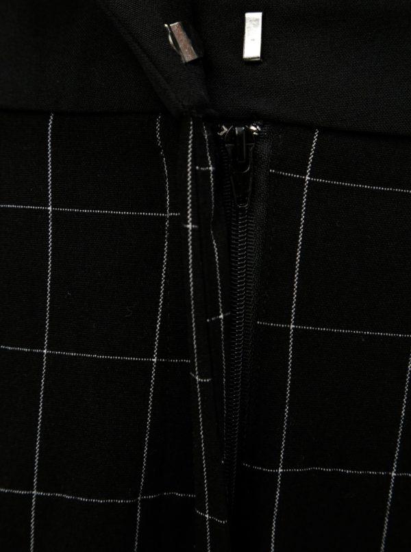 Čierne kockované skrátené nohavice s vysokým pásom VERO MODA