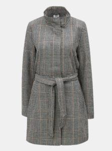 Sivo-čierny vzorovaný kabát s opaskom ONLY Ashley