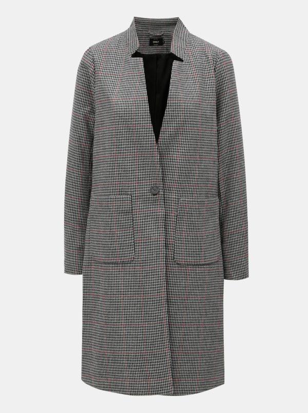 Sivo-čierny vzorovaný kabát ONLY Helen