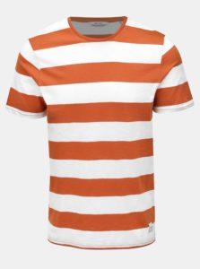 Bielo-hnedé pruhované basic tričko ONLY & SONS Dontell