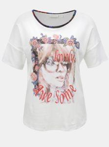 Biele voľné tričko s potlačou a kamienkami Rich & Royal