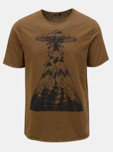 Hnedé tričko s potlačou ONLY & SONS Garreth