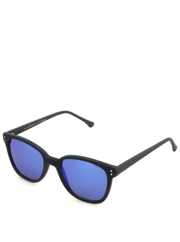 Čierne unisex slnečné okuliare s modrými polarizačnými sklami Komono Renee