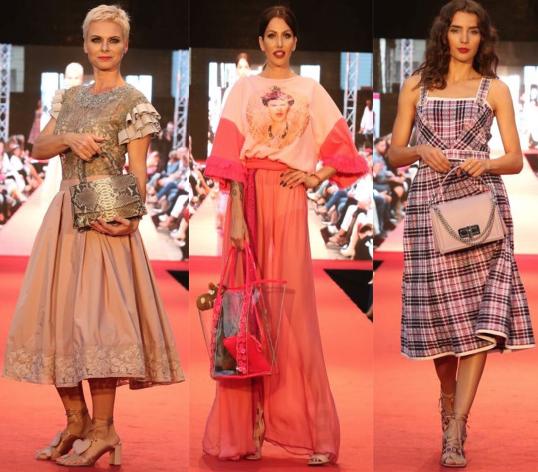 Tri modelky drziace rôzne kabelky od Katie Q