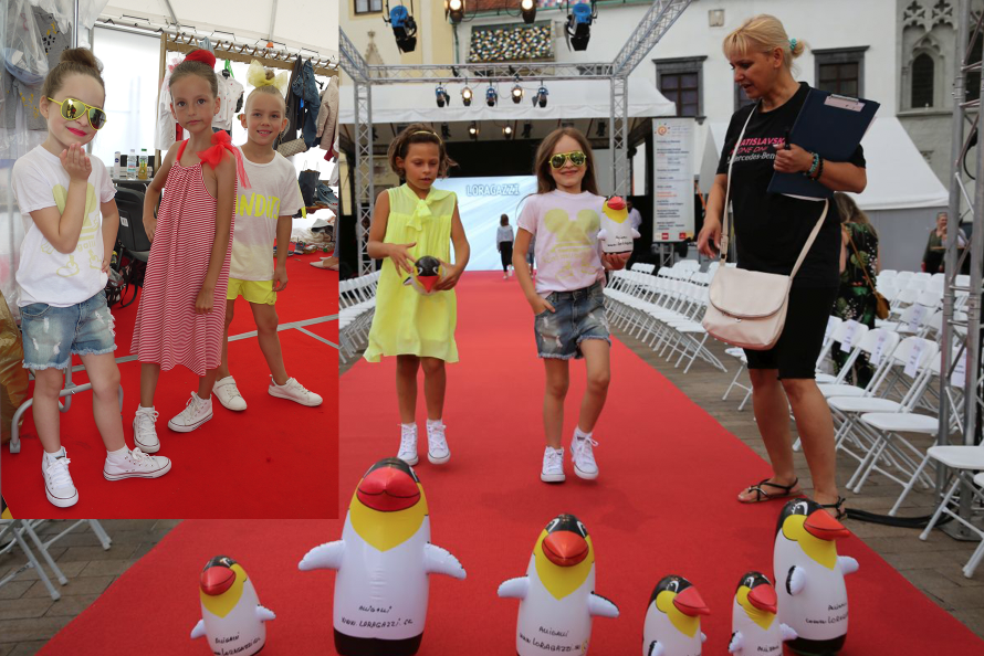 Nácvik úvodnej detskej prehliadky s organizátorkou a tučniakmi
