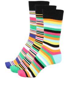 Súprava troch farebných prúžkovaných pánskych ponožiek Oddsocks Brian