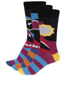 Súprava troch čierno-modrých pánskych ponožiek Oddsocks Barry
