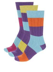 Súprava troch pánskych pruhovaných farebných ponožiek Oddsocks Rocky