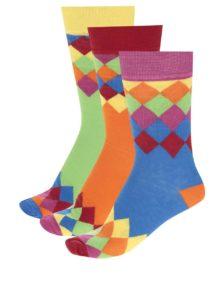 Súprava troch pánskych vzorovaných ponožiek v modrej, oranžovej a zelenej farbe Oddsocks Charlie