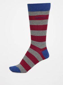 Ružovo-sivé pánske pruhované ponožky GANT
