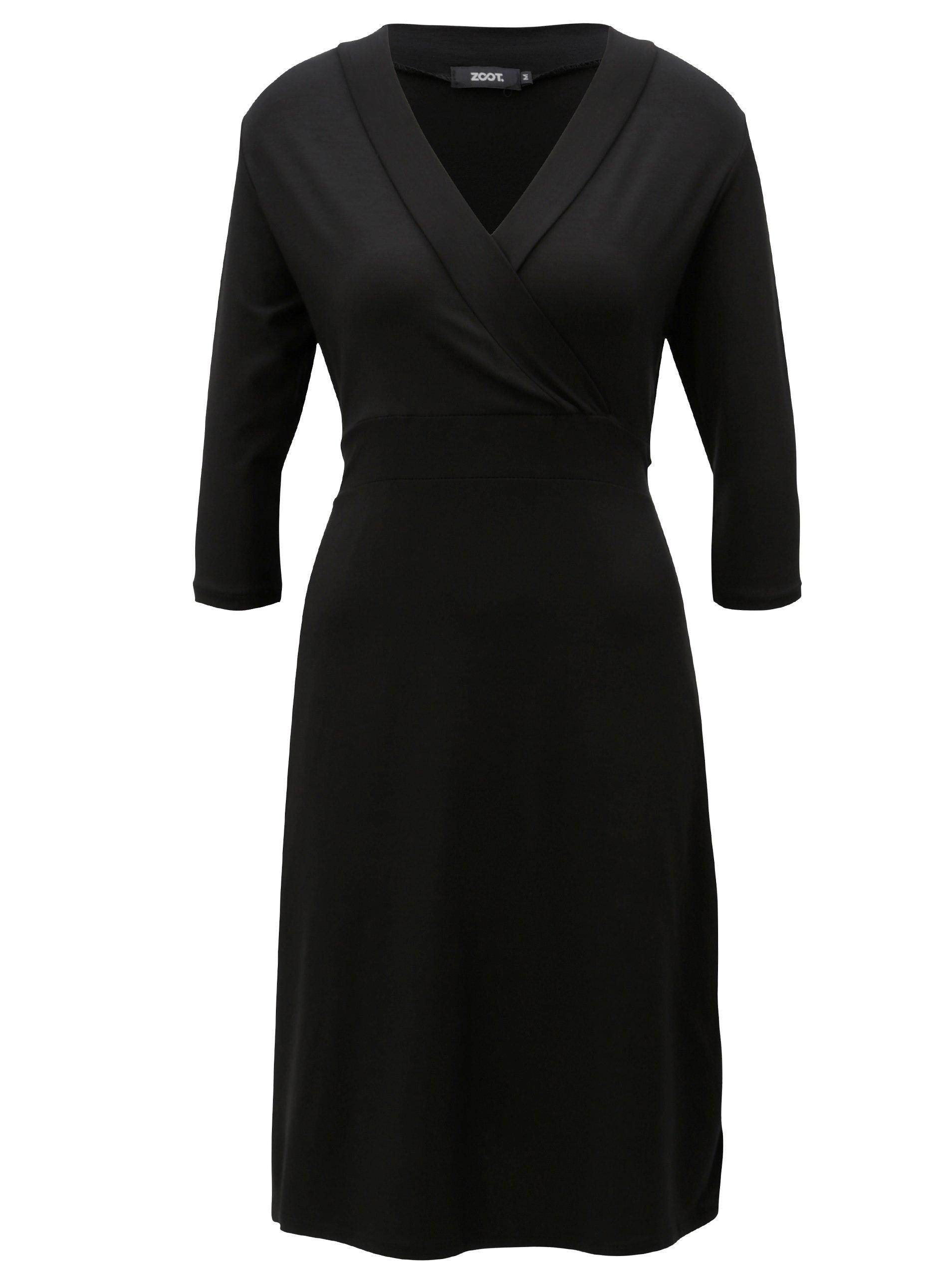 Čierne šaty s prekladaným výstrihom ZOOT  2231507dd5f