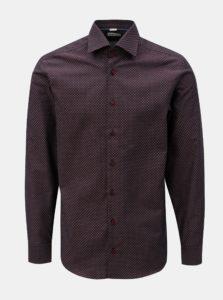 Vínová pánska vzorovaná formálna košeľa VAVI