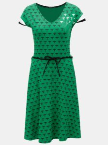 Zelené šaty s potlačou a odnímateľným opaskom Mayda Red Baron