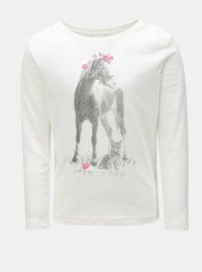 Biele dievčenské tričko s potlačou koňa Blue Seven