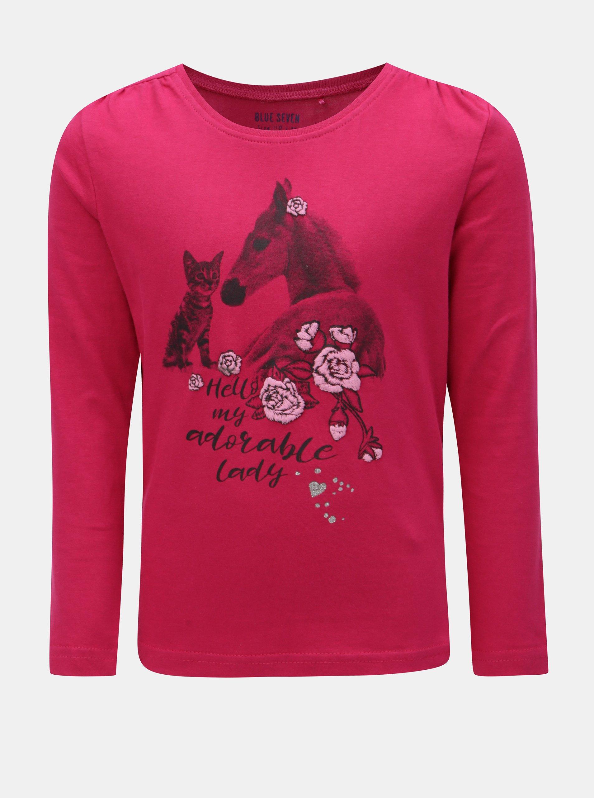 Tmavoružové dievčenské tričko s potlačou koňa Blue Seven  922d07c4c3d