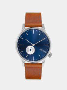 Unisex hodinky v striebornej farbe s hnedým koženým remienkom Komono Winston Subs