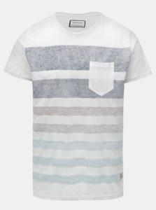 Biele tričko s melírovanými pruhmi a náprsným vreckom Shine Original