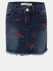 Dievčenská rifľová sukňa s výšivkou Name it Fasola