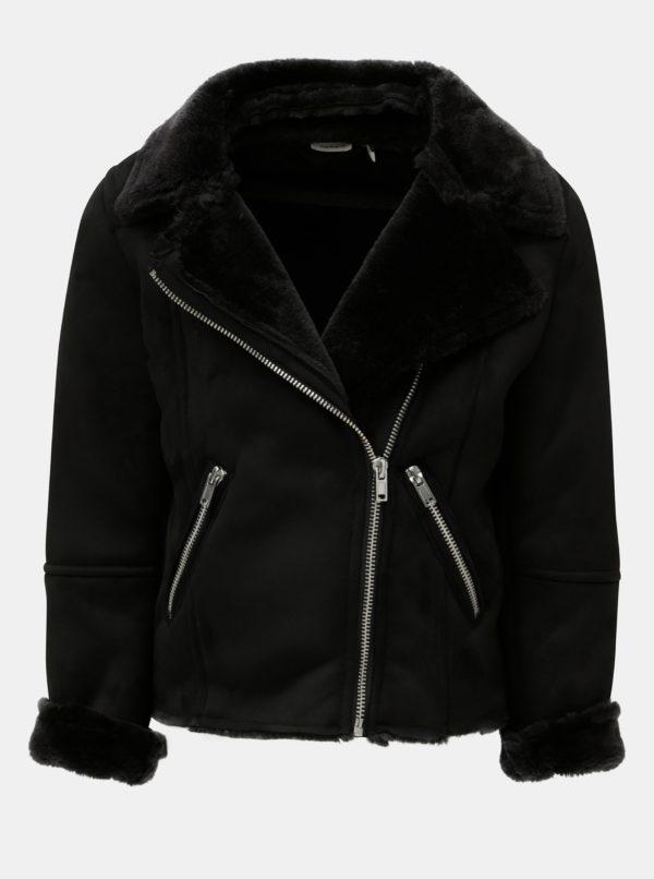 Čierna dievčenská koženková bunda Name it Mabine