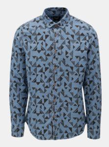 Modrá vzorovaná rifľová slim fit košeľa ONLY & SONS