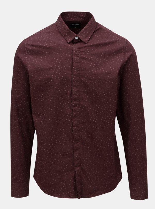 Vínová vzorovaná slim fit košeľa ONLY & SONS