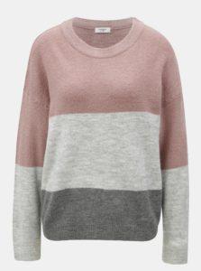 Ružovo-sivý melírovaný sveter s pruhmi Jacqueline de Yong