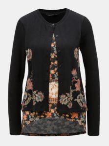 Čierny kardigán so všitým vzorovaným tričkom Desigual