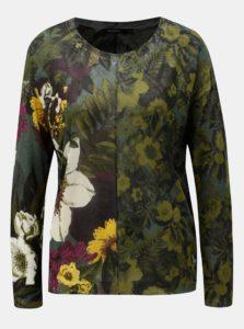 Zelený tenký kvetovaný sveter Desigual