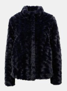 Tmavomodrý krátky kabát z umelej kožušiny Dorothy Perkins