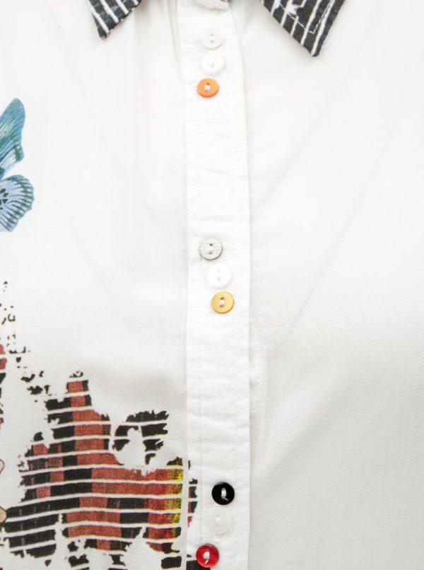 87c7fe33d7b0 Biela košeľa s potlačou a dlhým rukávom Desigual Fragancy
