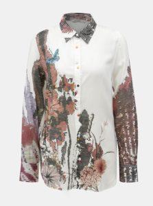 Biela košeľa s potlačou a dlhým rukávom Desigual Fragancy