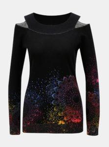 Čierny vzorovaný sveter s prestrihmi na ramenách Desigual Shimla