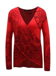 Červený vzorovaný sveter s prekladaným výstrihom Desigual Lisboa