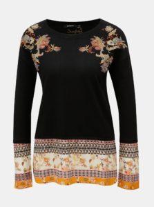 Čierny sveter s výšivkou a so všitou blúzovou časťou Desigual Noor
