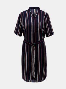Tmavomodré pruhované košeľové šaty Blendshe Salva