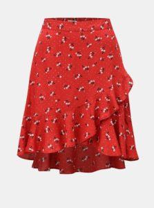Červená kvetovaná sukňa s volánom Blendshe Trudie
