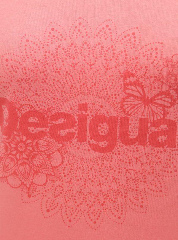 Ružové tričko s potlačou Desigual